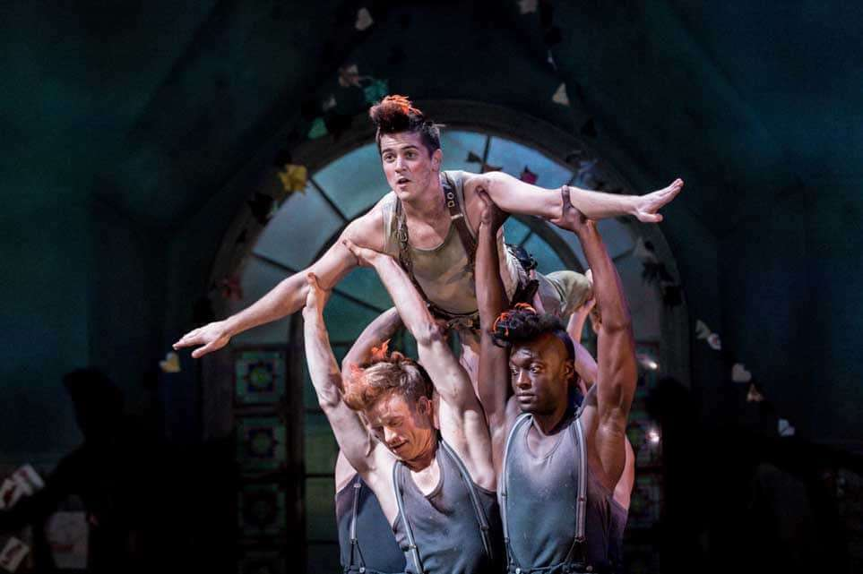 Simon CarrollJones, Rhys Rusbatch (held aloft), Arthur Kyeyune| Photo: Manuel Harlan | First look at Jonathan Munby's Wendy and Peter Pan at the RSC