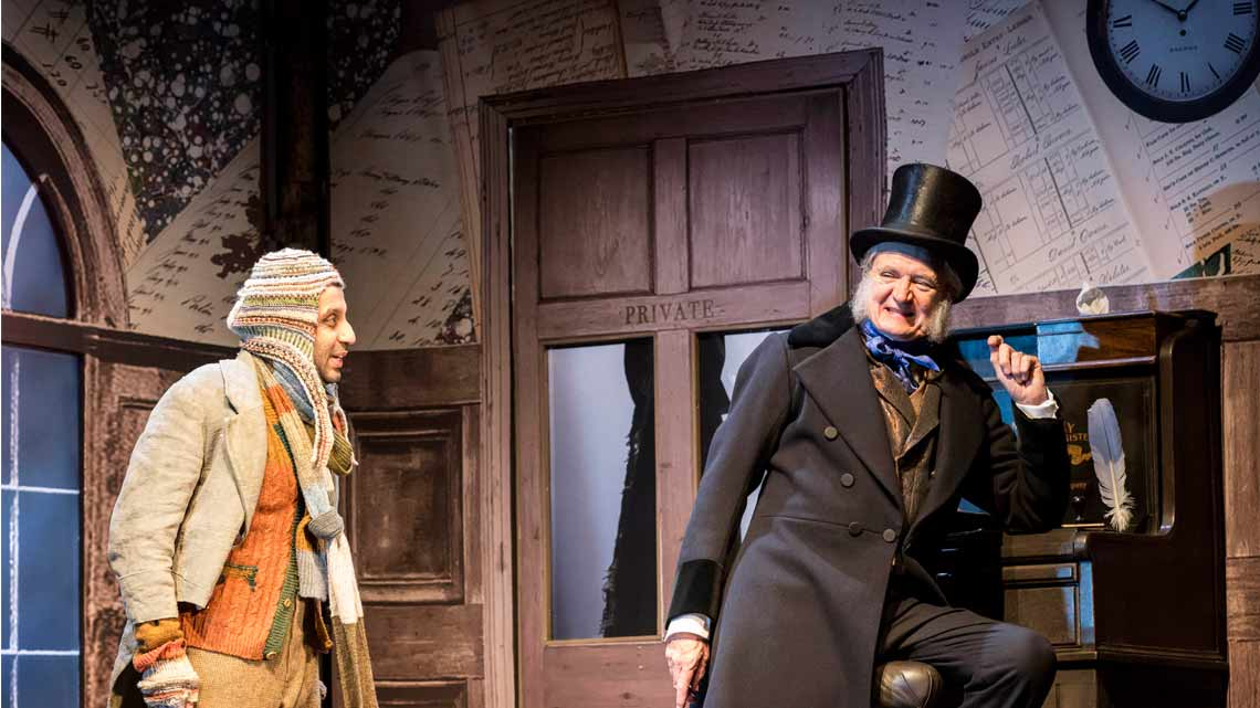 Jim Broadbent and Adeel Akhtar  in A Christmas Carol. Photo: Johan Persson | First Look: Jim Broadbent in A Christmas Carol