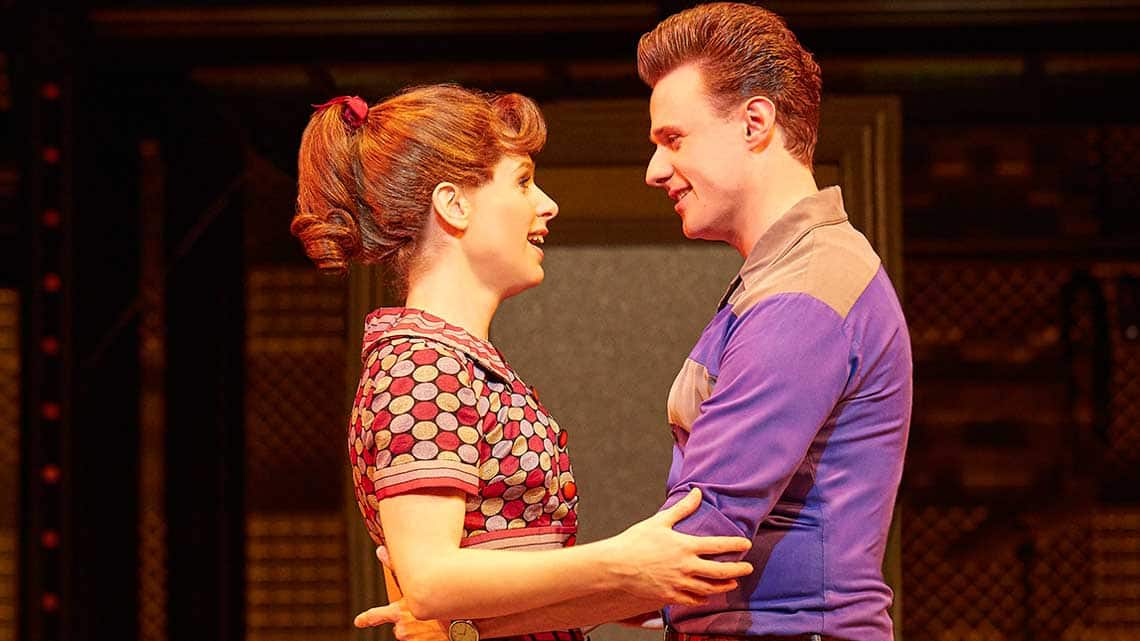 Cassidy Janson (Carole King) and Alan Morrissey (Gerry Goffin). Photo Brinkhoff Moegenburg. | BEAUTIFUL The Carole King Musical at the Aldwych Theatre