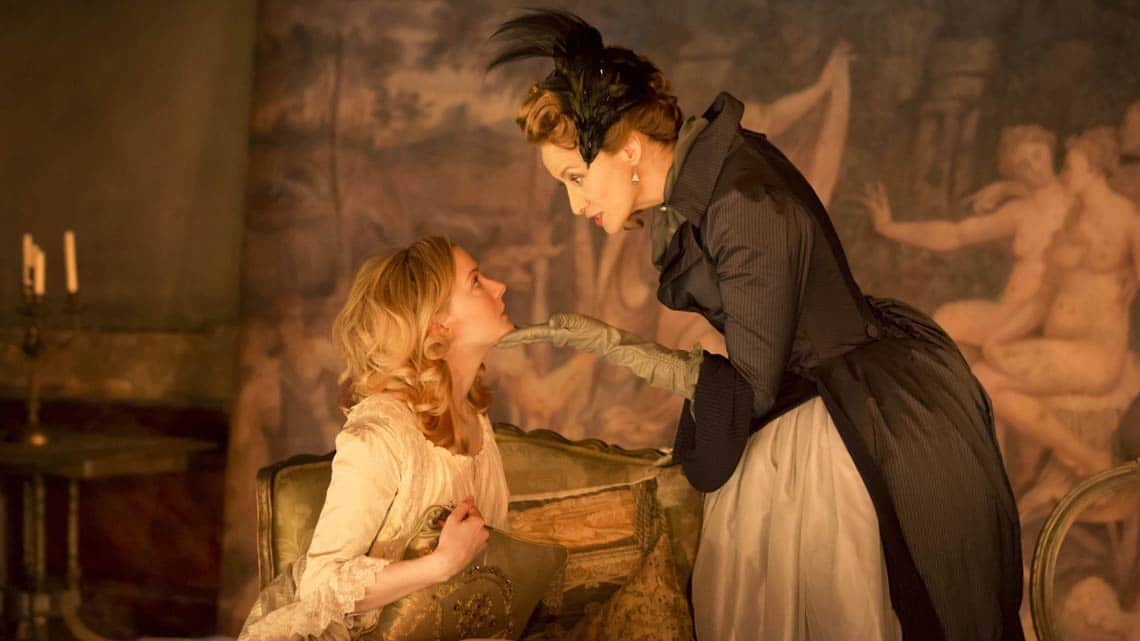 Morfydd Clark and Janet McTeer in Les Liaisons Dangereuses at the Donmar Warehouse. © Johan Persson