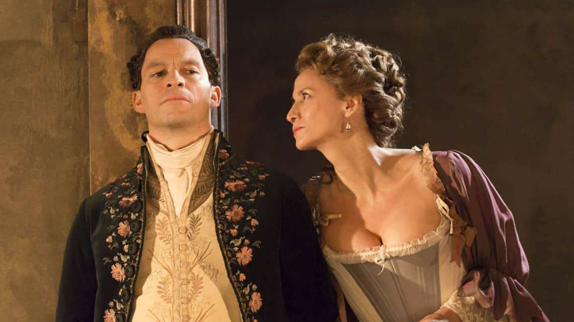 Dominic West and Janet McTeer in Les Liaisons Dangereuses at the Donmar Warehouse. © Johan Persson