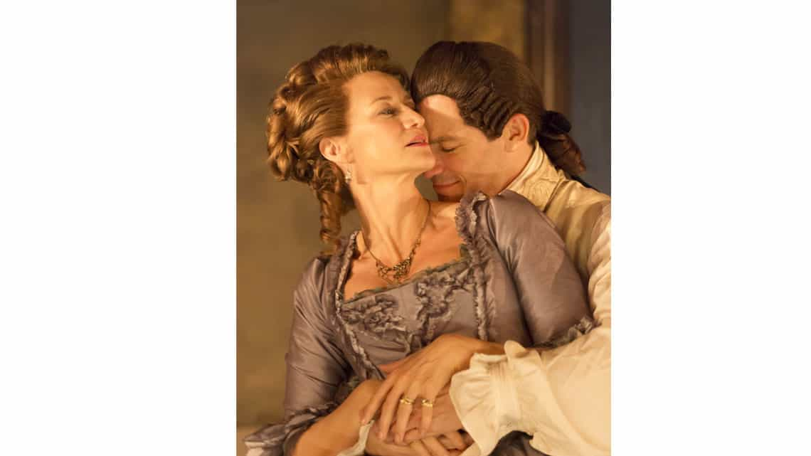 Dominic West (Le Vicomte De Valmont) and Janet McTeer (La Marquise De Merteuil) in Les Liaisons  Dangereuses'.  © Johan Persson | Photos: Les Liaisons Dangereuses' at the Donmar Warehouse