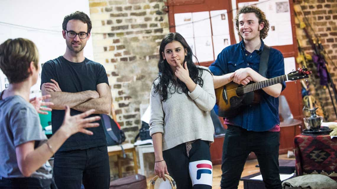 Nicholas (John Dryden), Paige Carter (Ensemble) and George Jennings (Ensemble) in Nell Gwynn. Photo: Tristram Kenton. | First Look: Gemma Arterton in Nell Gwynn rehearsals