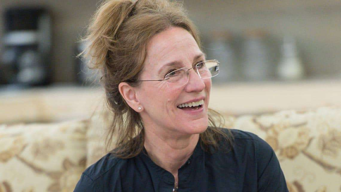 Penny Downie (Nat) in Rabbit Hole at Hampstead Theatre. Photo: Manuel Harlan