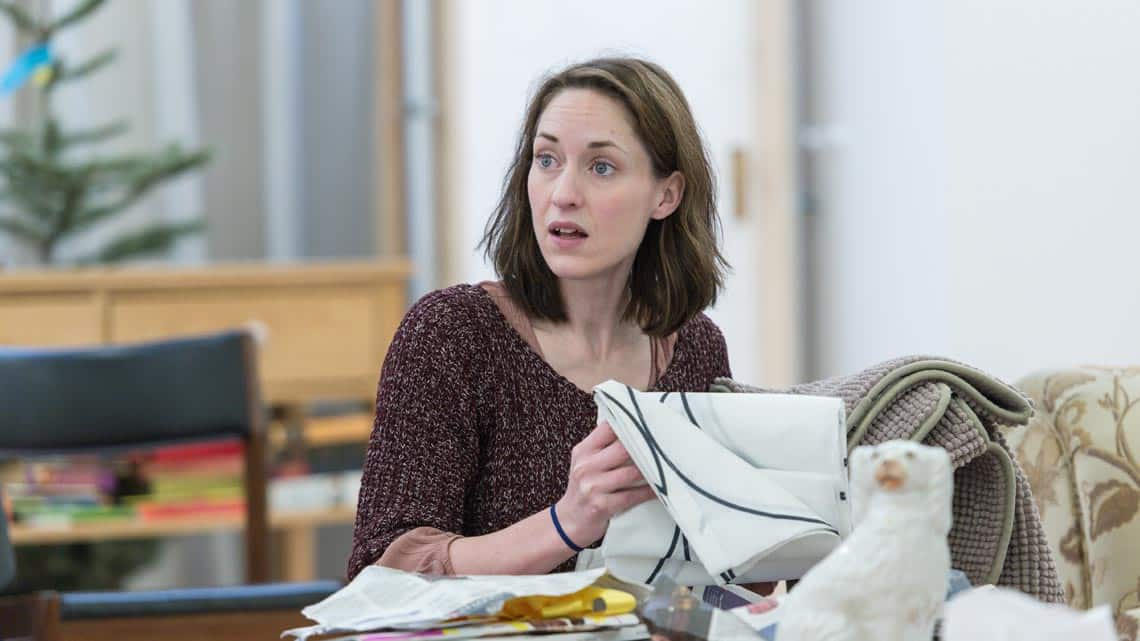 Georgina Rich (Izzy) in Rabbit Hole at Hampstead Theatre. Photo: Manuel Harlan