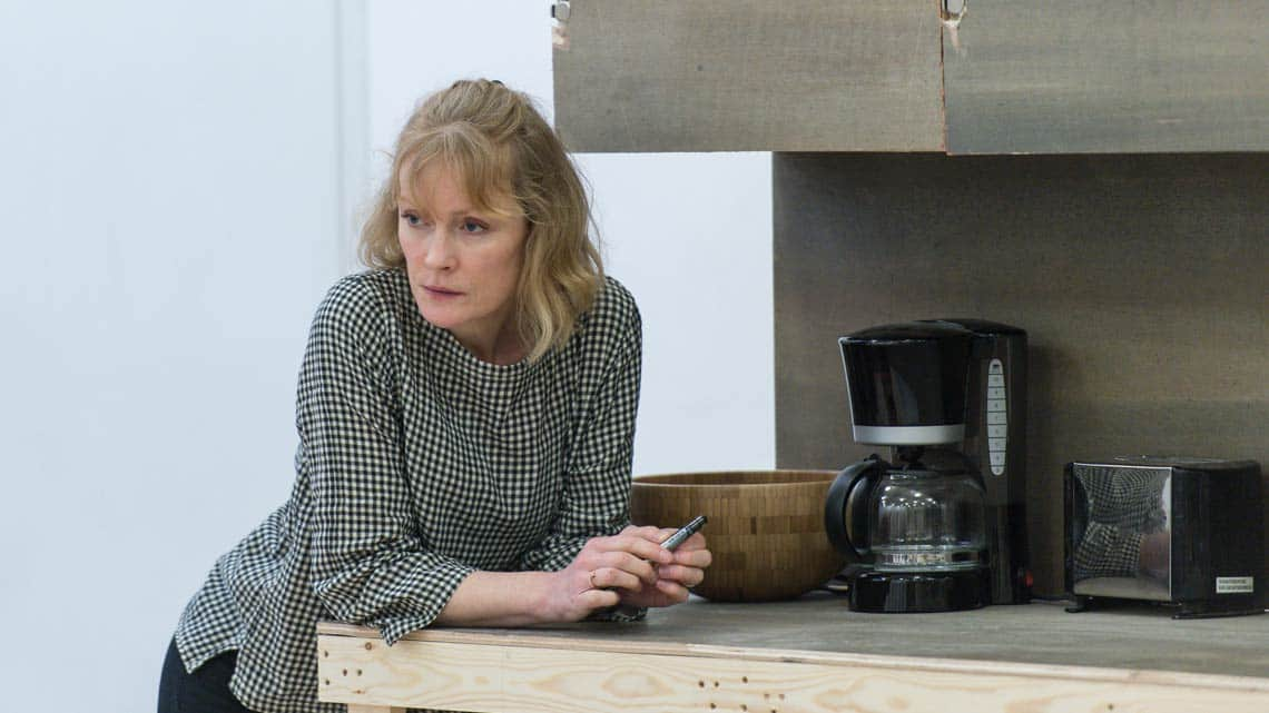 Claire Skinner (Becca) in Rabbit Hole at Hampstead Theatre. Photo: Manuel Harlan