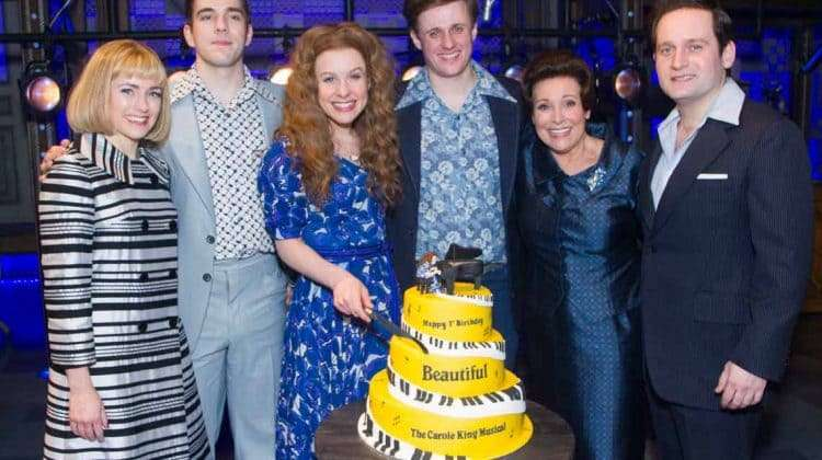 The cast of Beautiful - The Carole King Musical at first birthday gala. Photo by Dan Wooller