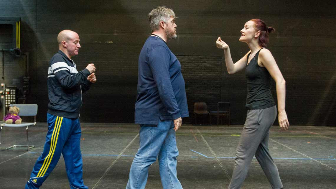 Craig Turner, Phill Jupitus and Joanna Goodwin. Credit Alastair Muir | Rehearsal photos of Chitty Chitty Bang Bang