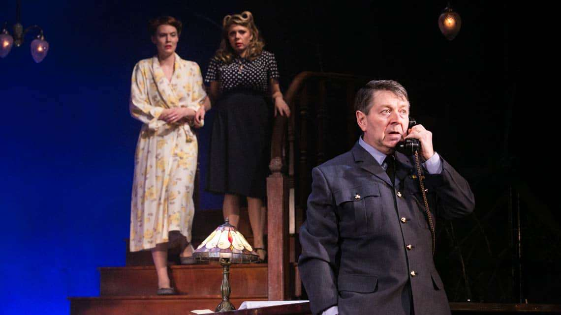 Polly Hughes, Claire Andreadis and Graham Seed as Squadron Leader Swanson in the 2016 National tour of Flare Path. Photo: Jack Ladenburg | First look at the 2016 National Tour of Flare Path.