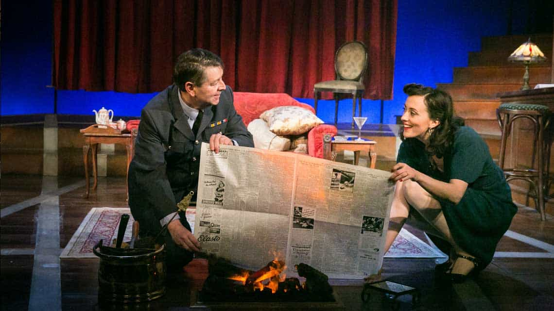 Graham Seed as Squadron Leader Swanson and Hedydd Dylan as Patricia Graham in the 2016 National tour of Flare Path.  Photo: Jack Ladenburg | First look at the 2016 National Tour of Flare Path.