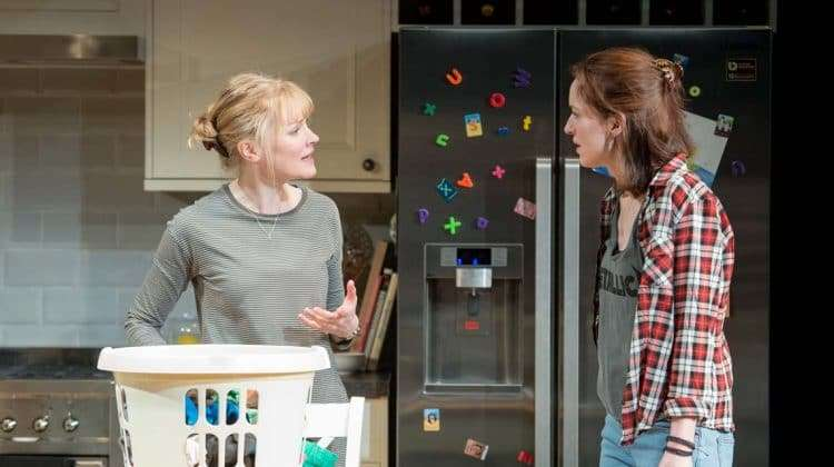 Claire Skinner (Becca) and Georgina Rich (Izzy) in Rabbit Hole at Hampstead Theatre. Photos: Manuel Harlan