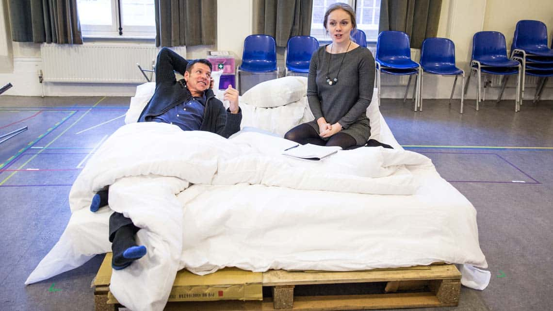 Lloyd Owen and Christina Cole in rehearsal for The End of Longing