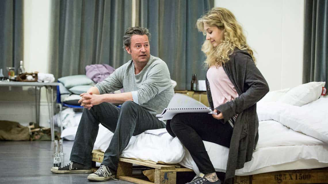 Matthew Perry and Jennifer Mudge in rehearsal for The End of Longing