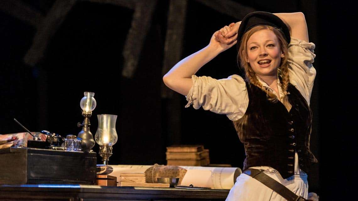 Sarah Snook (Hilde Wangel) in The Master Builder at The Old Vic. Photo: Manuel Harlan | First Look: Ralph Fiennes in The Master Builder