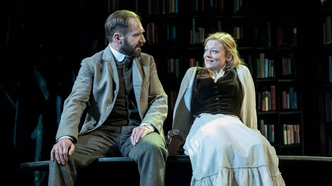 Ralph Fiennes (Halvard Solness) and Sarah Snook (Hilde Wangel) in The Master Builder at The Old Vic. Photo: Manuel Harlan | First Look: Ralph Fiennes in The Master Builder