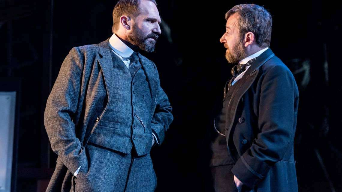 Ralph Fiennes (Halvard Solness) and James Dreyfus (Dr. Herdal) in The Master Builder at The Old Vic. Photo: Manuel Harlan | First Look: Ralph Fiennes in The Master Builder