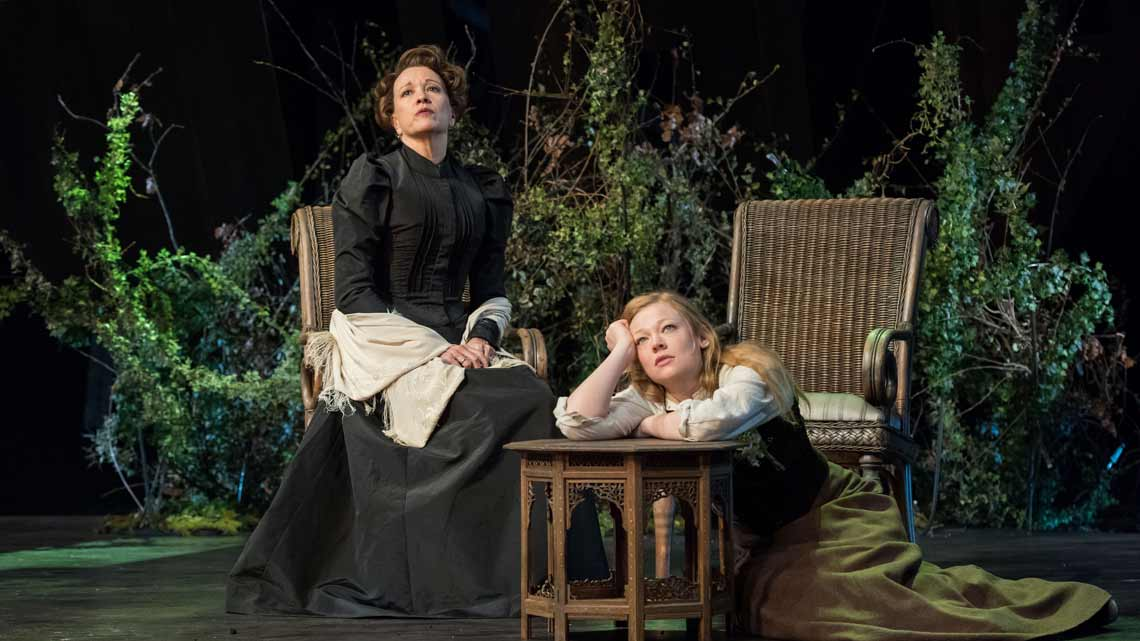 Linda Emond (Aline Solness) and Sarah Snook (Hilde Wangel) in The Master Builder at The Old Vic. Photo: Manuel Harlan | First Look: Ralph Fiennes in The Master Builder