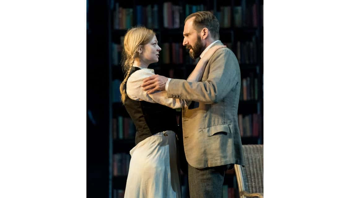 Sarah Snook (Hilde Wangel) and Ralph Fiennes (Halvard Solness) in The Master Builder at The Old Vic. Photo: Manuel Harlan | First Look: Ralph Fiennes in The Master Builder