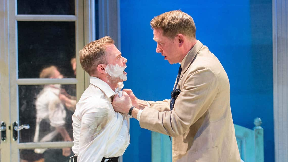 Rory Keenan (Gene) and Barnaby Kay (George Fox) in Welcome Home, Captain Fox!  at Donmar Warehouse. Photo by Manuel Harlan | First Look: Welcome Home, Captain Fox! at the Donmar Warehouse.