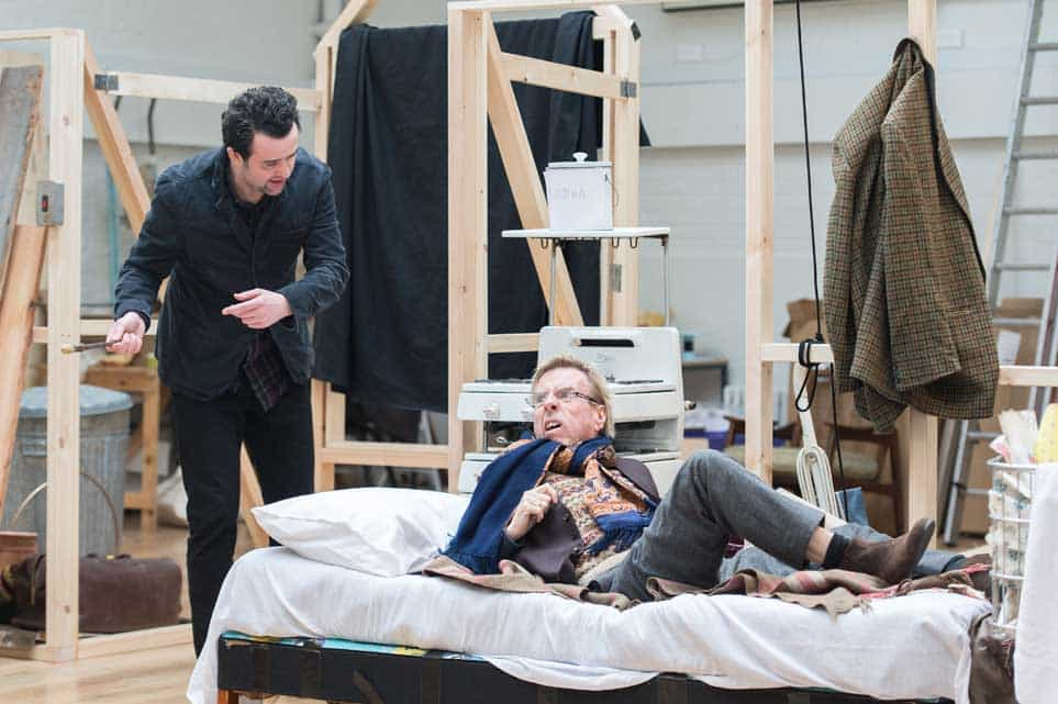 | George MacKay, Daniel Mays and Timothy Spall rehearse The Caretaker