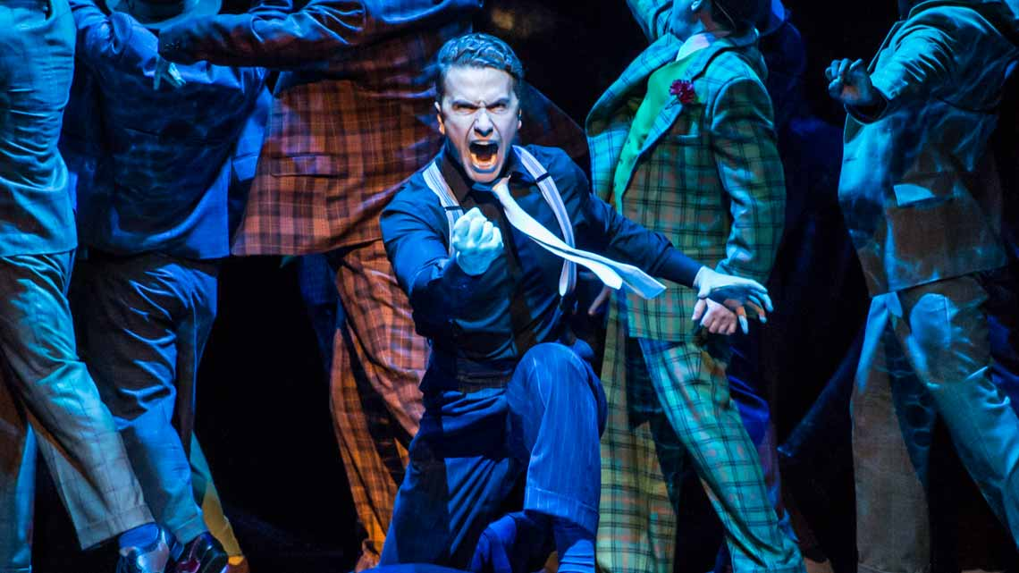 | First Look: Richard Fleeshman as Sky Masterson in Guys and Dolls