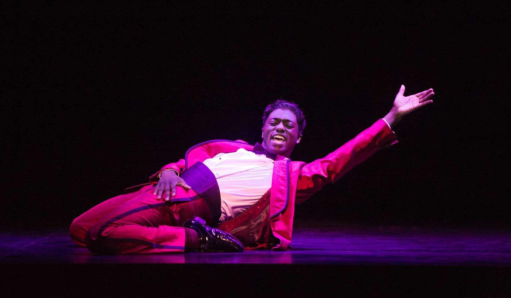 Samuel Edwards (Jackie Wilson) in Motown the Musical. Photo: Alastair Muir | First Look: Motown the Musical