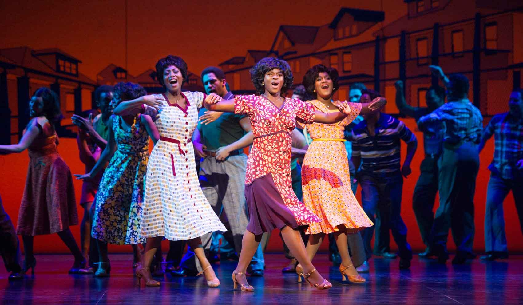 l-r Keisha Amponsa Banson, Aisha Jawando, Cleopatra Rey as Martha Reeves and the Vandellas in Motown the Musical. Photo: Alastair Muir | First Look: Motown the Musical