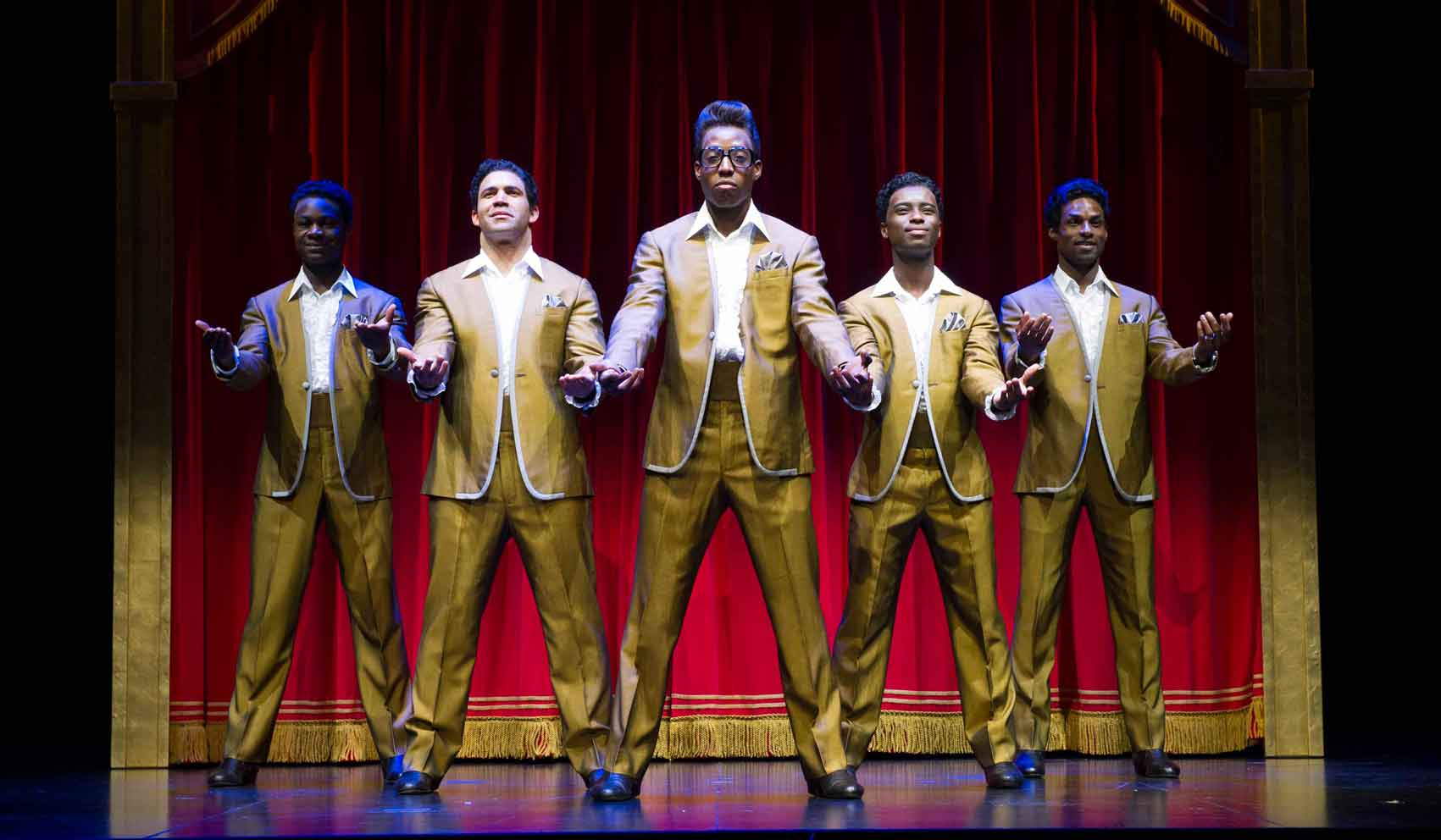 l-r Eddie Elliott, Simon Ray Harvey, Simeon Montague, Joshua Liburd, Brandon Lee Sears as The Temptations in Motown the Musical. Photo: Alastair Muir | First Look: Motown the Musical