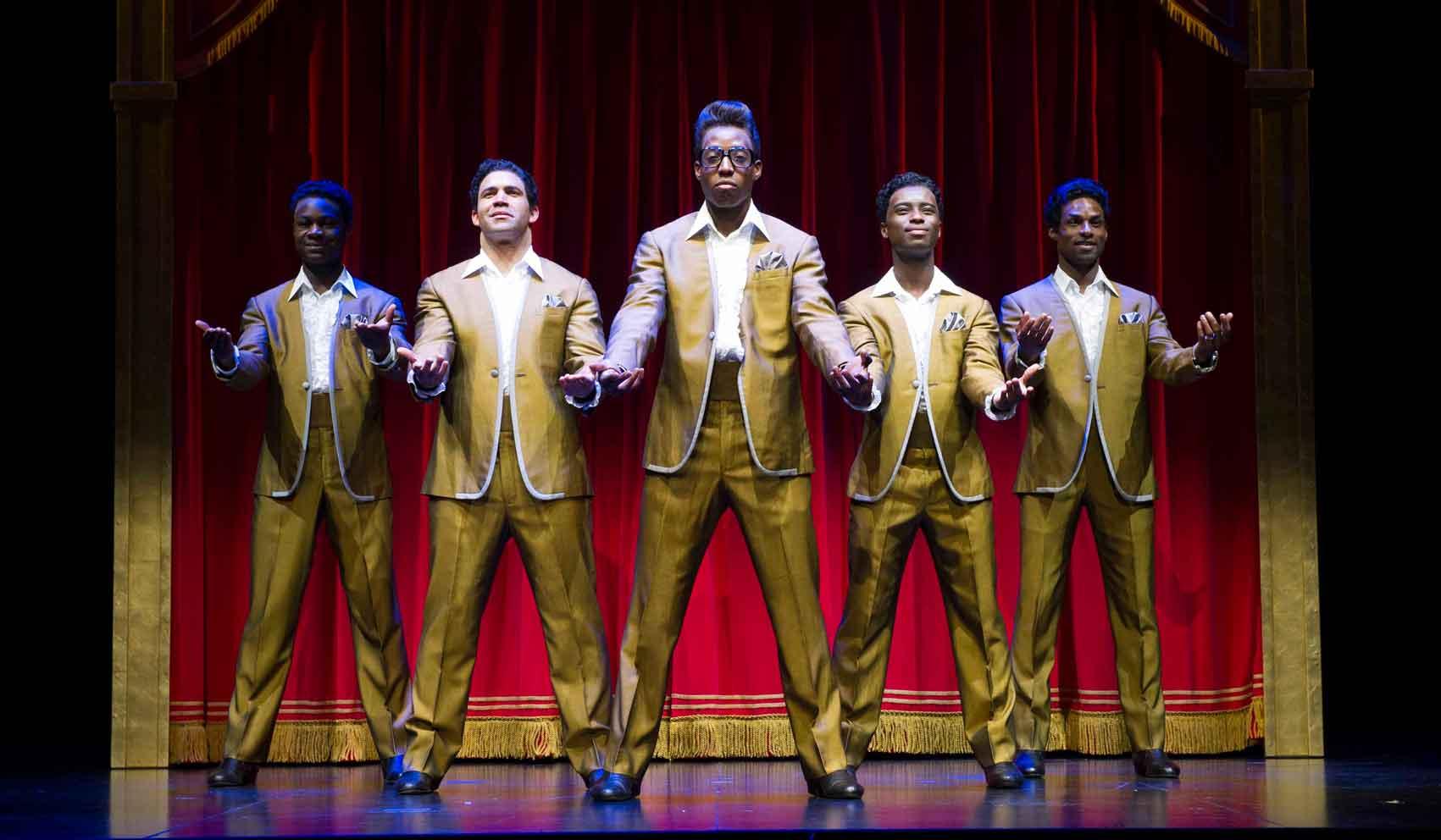 l-r Eddie Elliott, Simon Ray Harvey, Simeon Montague, Joshua Liburd, Brandon Lee Sears as The Temptations in Motown the Musical. Photo: Alastair Muir | First Look: Motown the Musical