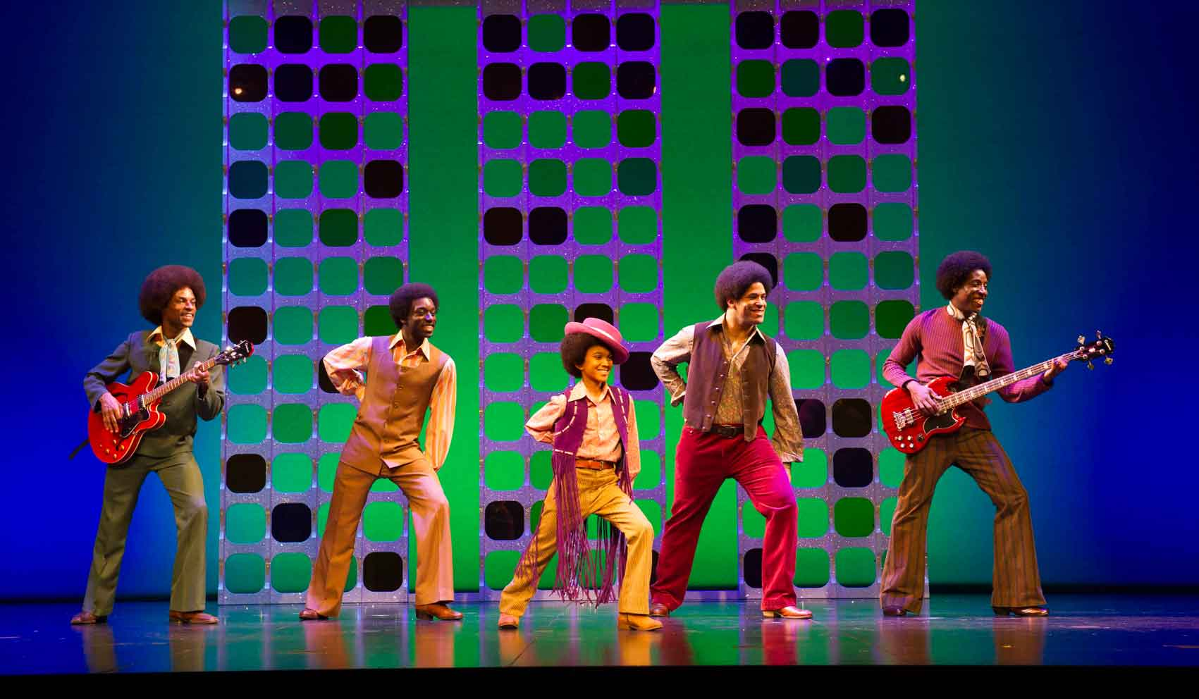 l-r Brandon Lee Sears, Samuel Edwards, Eshan Gopal, Simon Ray Harvey, Simeon Montague as The Jackson 5 in Motown the Musical.  Photo : Alastair Muir | First Look: Motown the Musical