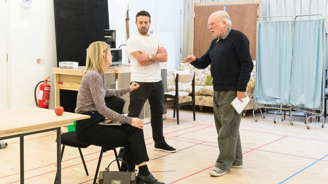 Robyn Addison (Carly), Warren Brown (Kent) and Michael Attenborough (Director). Photos by Manuel Harlan. | In rehearsal – Reasons To Be Happy at Hampstead Theatre