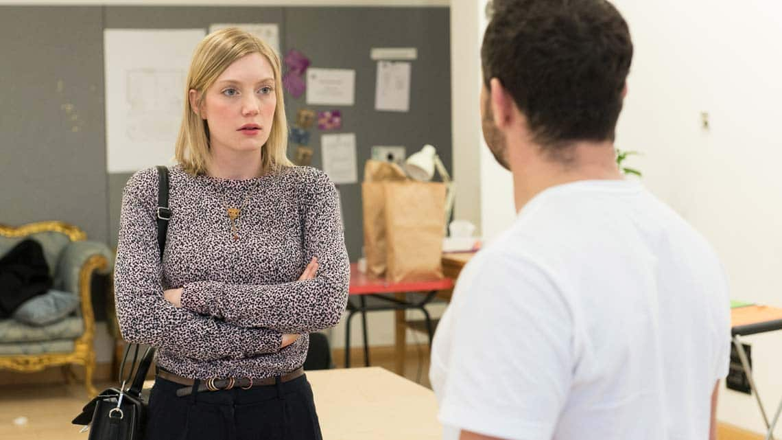 Robyn Addison (Carly) and Warren Brown (Kent) in Reasons to be Happy at Hampstead Theatre. Photos by Manuel Harlan. | In rehearsal – Reasons To Be Happy at Hampstead Theatre
