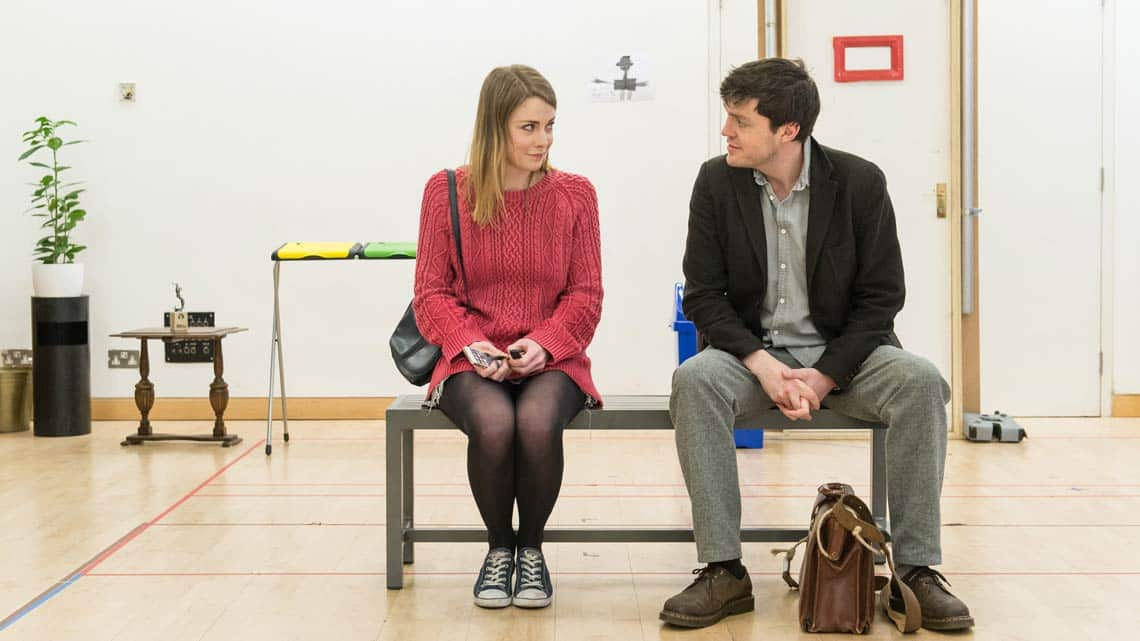 Lauren O'Neil (Steph) and Tom Burke (Greg) in Reasons to be Happy at Hampstead Theatre. Photos by Manuel Harlan. | In rehearsal – Reasons To Be Happy at Hampstead Theatre