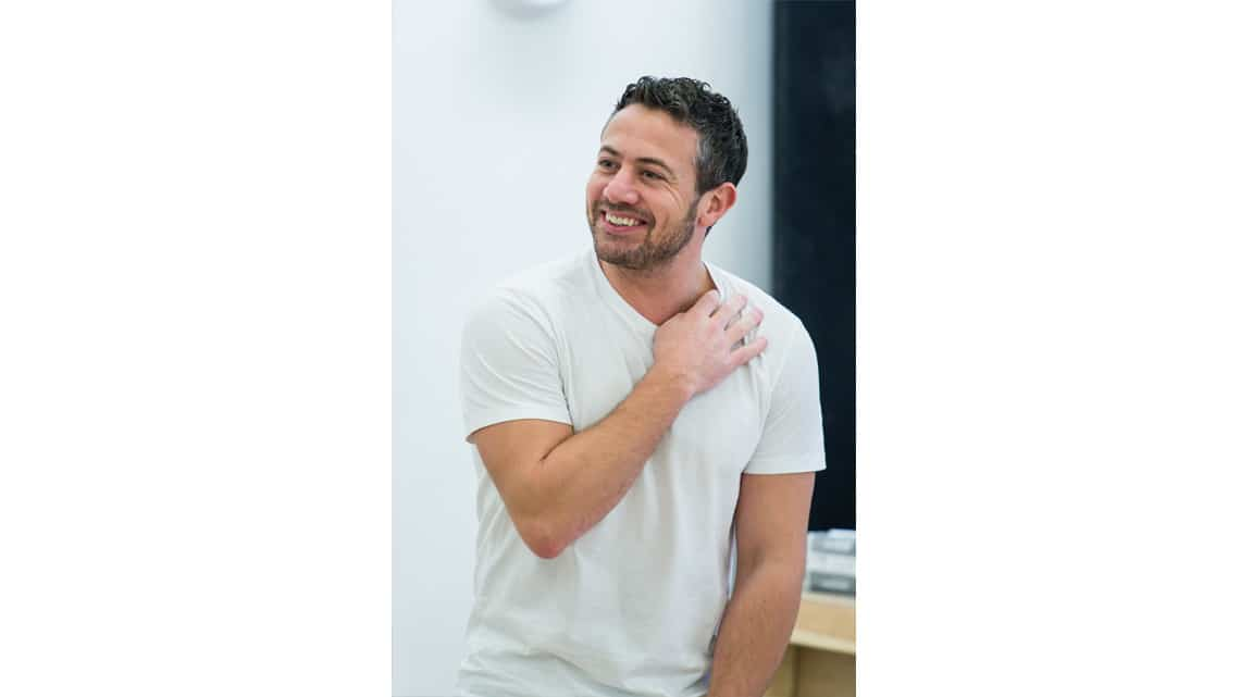 Warren Brown (Kent) in Reasons to be Happy at Hampstead Theatre. Photos by Manuel Harlan. | In rehearsal – Reasons To Be Happy at Hampstead Theatre