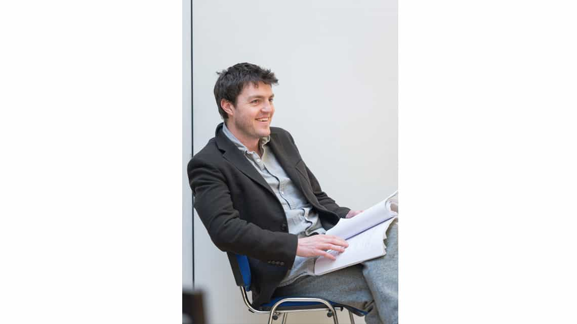 Tom Burke (Greg) in Reasons to be Happy at Hampstead Theatre. Photos by Manuel Harlan. | In rehearsal – Reasons To Be Happy at Hampstead Theatre