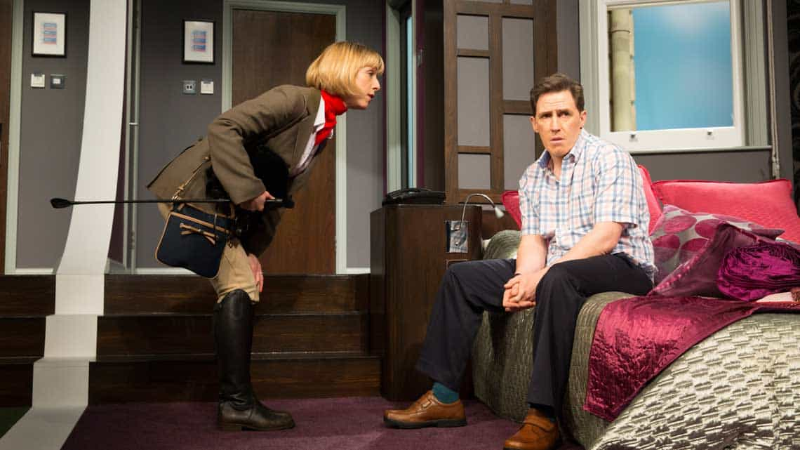 Claudie Blakley, Rob Brydon | The Painkiller | Garrick Theatre | Credit Johan Persson | In Pictures: The Painkiller starring Rob Brydon & Kenneth Branagh