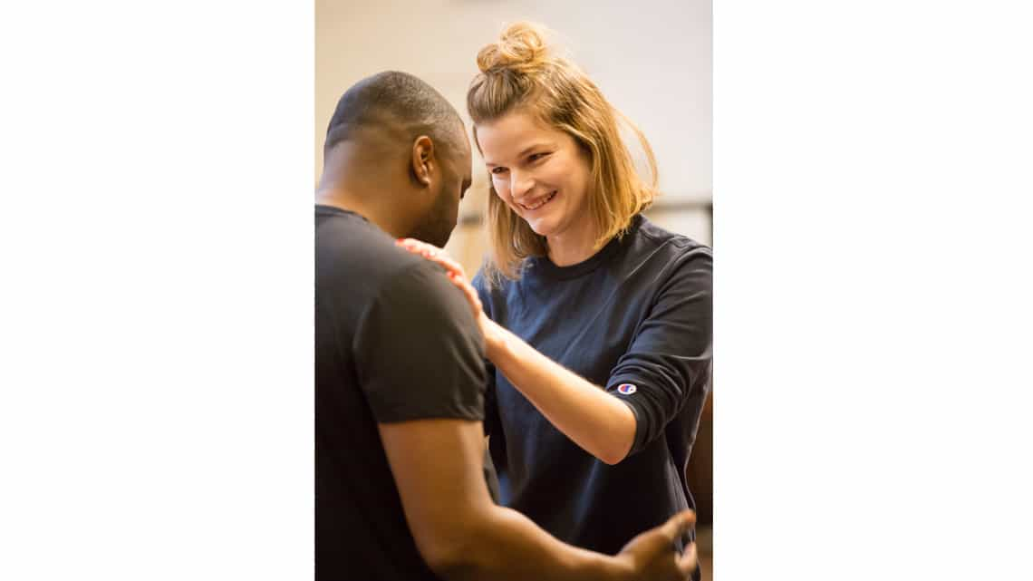 Javone Prince and Lisa Jackson in rehearsals for The Suicide | National Theatre | Photo: Johan Persson | In rehearsal: The Suicide starring Javone Prince