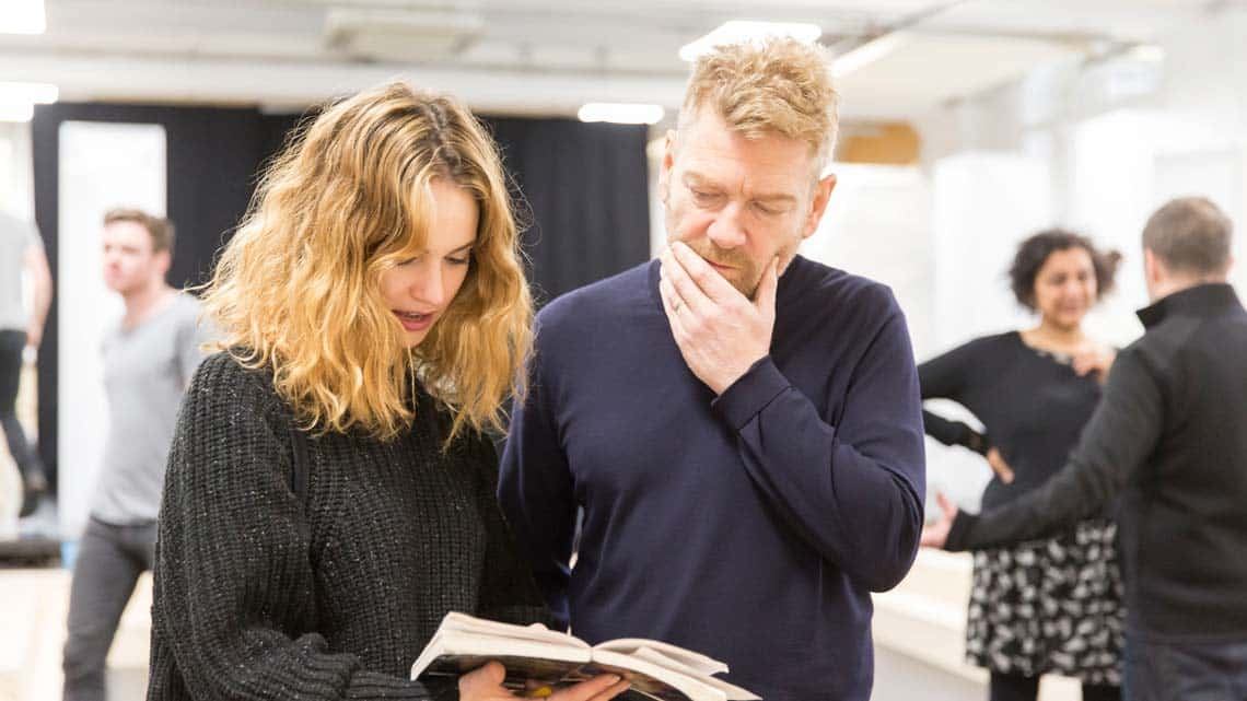 Romeo and Juliet (Kenneth Branagh Theatre Company) - Kenneth Branagh, Lily James (Juliet) Credit Johan Persson | In pictures: Romeo and Juliet rehearsal