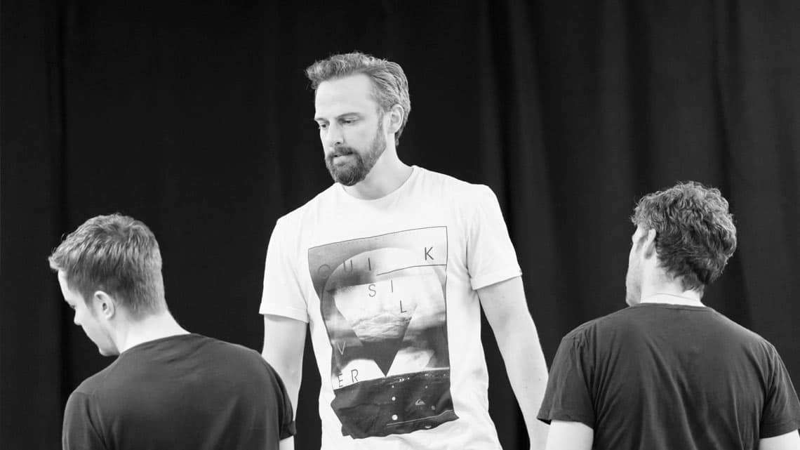 Romeo and Juliet (Kenneth Branagh Theatre Company) - Jack Colgrave Hirst (Benvolio), Michael Rouse (Lord Capulet) and Richard Madden (Romeo) Credit Johan Persson | In pictures: Romeo and Juliet rehearsal