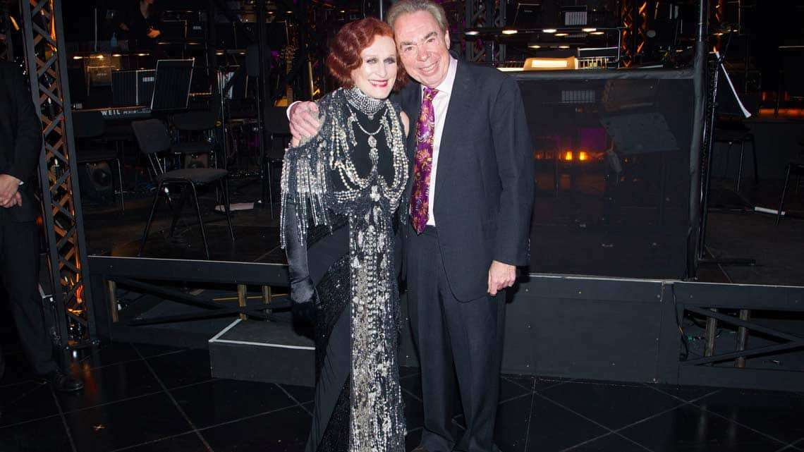 Glenn Close (Norma Desmond) and Andrew Lloyd Webber backstage  at the opening night of Sunset Boulevard. Photo credit Dan Wooller