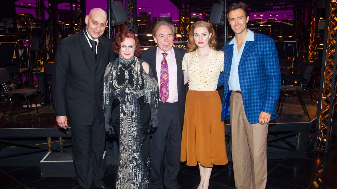 Fred Johanson, Glenn Close, Andrew Lloyd Webber, Michael Xavier and Siobhan Dillon  backstage  at the opening night of Sunset Boulevard.  Photo credit Dan Wooller | In Pictures: First Night of Sunset Boulevard