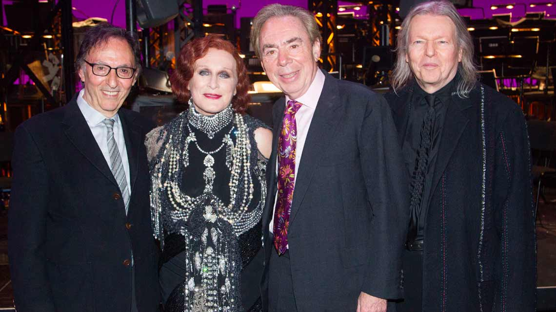 Don Black, Glenn Close, Andrew Lloyd Webber and Christopher Hampton backstage at the opening night of Sunset Boulevard. Photo credit Dan Wooller | In Pictures: First Night of Sunset Boulevard