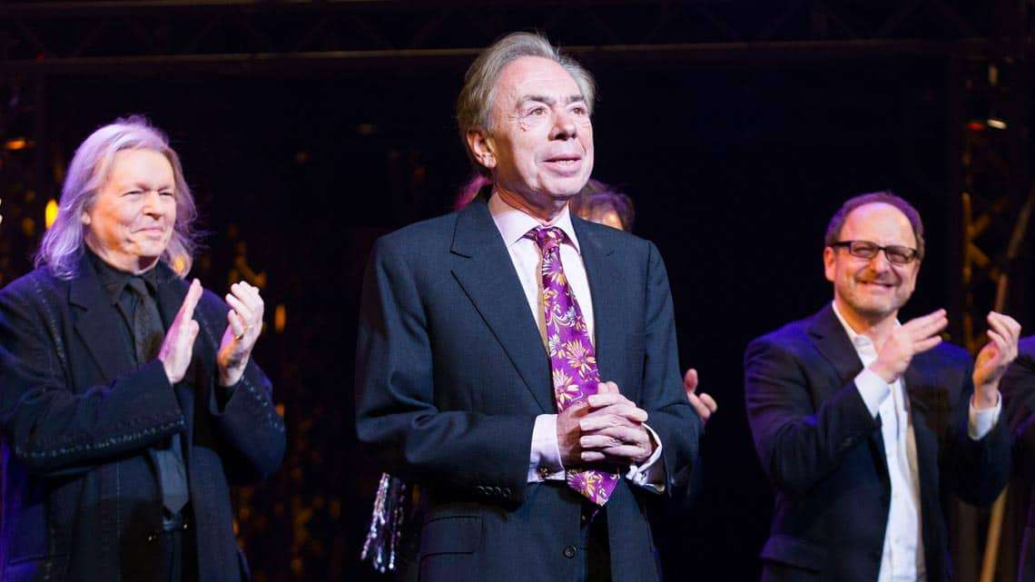 Andrew Lloyd Webber during the curtain call at the opening night of Sunset Boulevard. Photo credit Dan Wooller