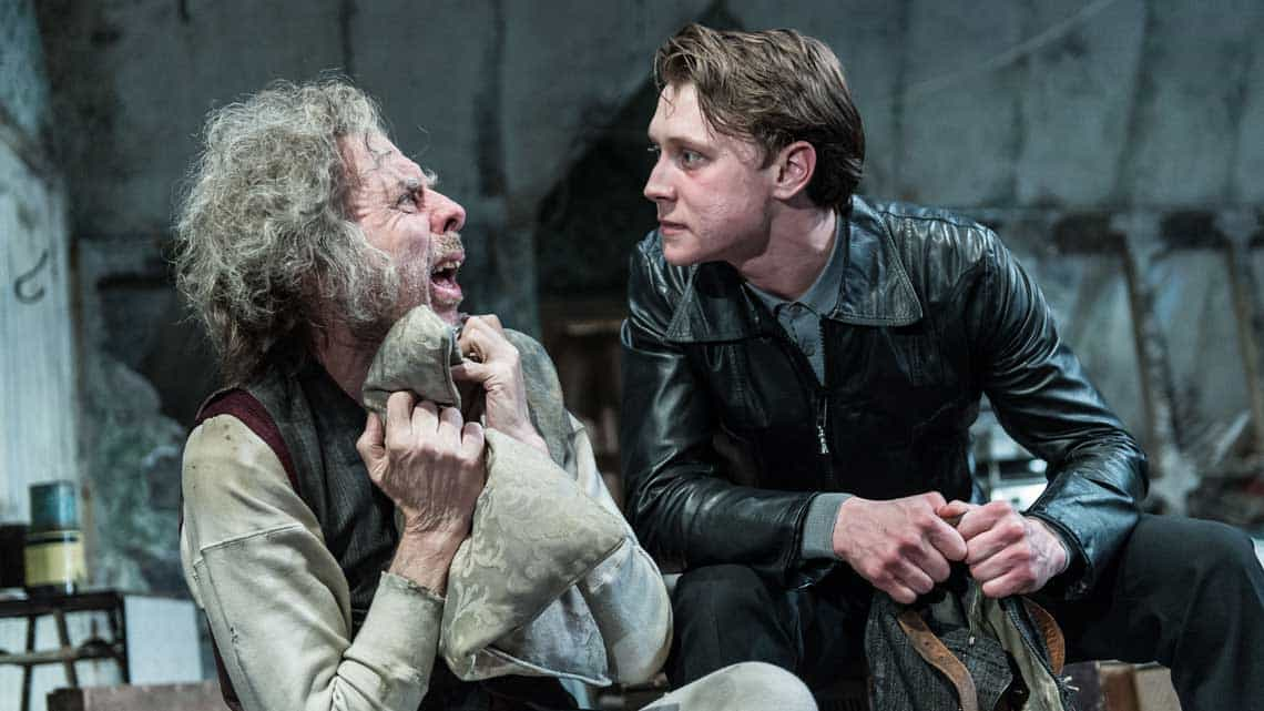 Timothy Spall (Davies), George MacKay (Mick) in The Caretaker at The Old Vic. Photo by Manuel Harlan. | Timothy Spall, Daniel Mays and George MacKay in The Caretaker