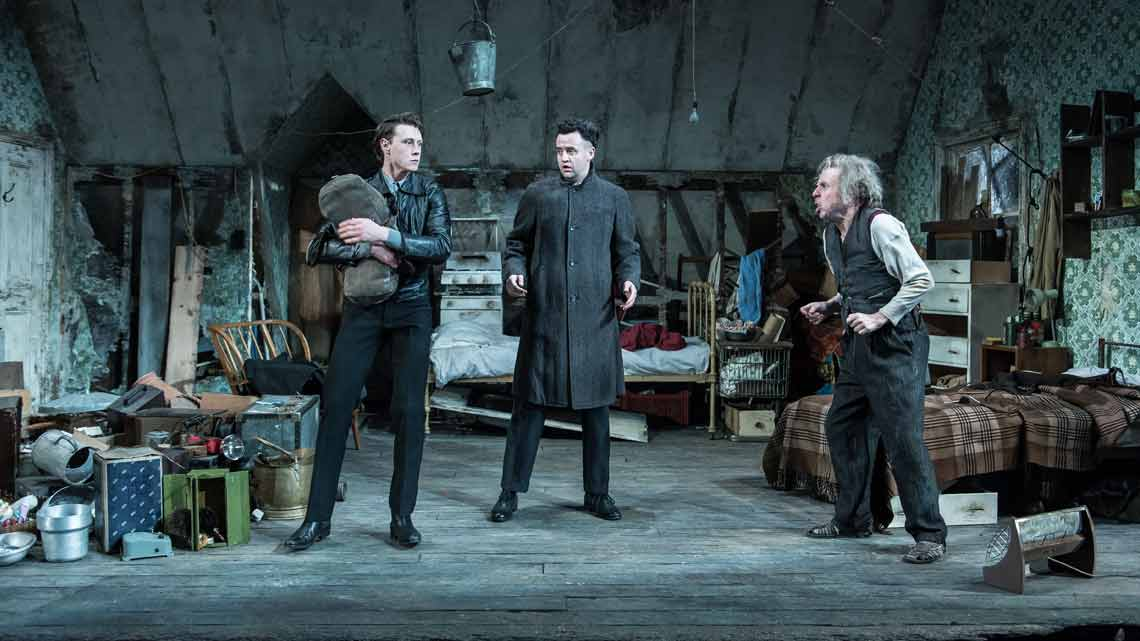 Daniel Mays (Aston), Timothy Spall (Davies), George MacKay (Mick) in The Caretaker at The Old Vic. Photo by Manuel Harlan. | Timothy Spall, Daniel Mays and George MacKay in The Caretaker
