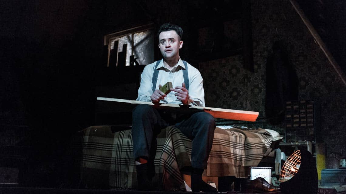 Daniel Mays (Aston) in The Caretaker at The Old Vic. Photo by Manuel Harlan.  | Timothy Spall, Daniel Mays and George MacKay in The Caretaker
