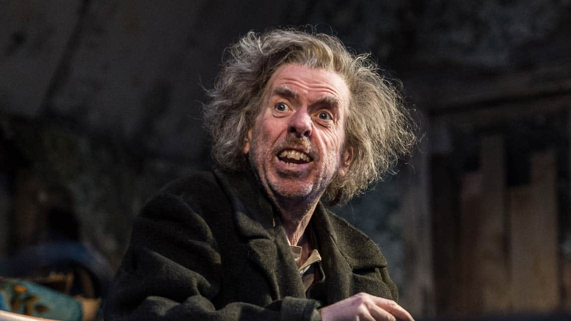Timothy Spall (Davies) in The Caretaker at The Old Vic. Photo by Manuel Harlan | Timothy Spall, Daniel Mays and George MacKay in The Caretaker