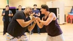 Disney's Aladdin in rehearsals Trevor Dion Nicholas (Genie) and Dean John-Wilson (Aladdin) Credit Johan Persson