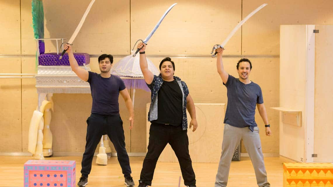 Disney's Aladdin in rehearsals Stephen Rahman-Hughes (Kassim) Nathan Amzi (Babkak) and Rachid Sabitri (Omar) Credit Johan Persson | Rehearsal images of Disney's Aladdin