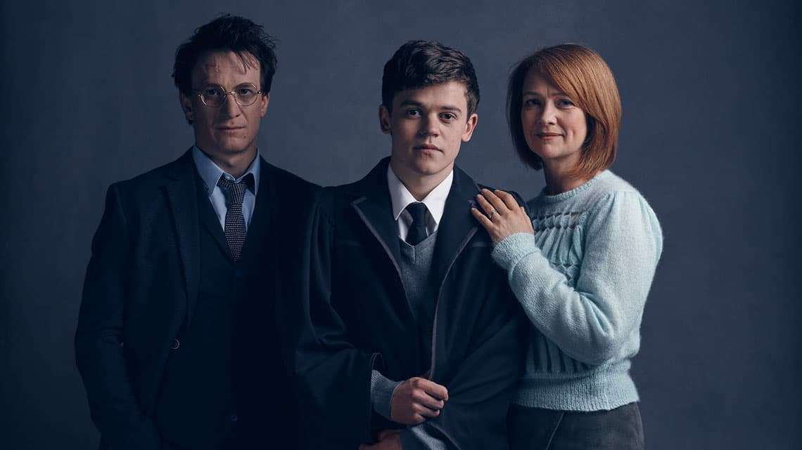 l-r Harry Potter (Jamie Parker), Albus Potter (Sam Clemmett), Ginny Potter (Poppy Miller) | First Look: Harry, Ginny and Albus in Harry Potter play